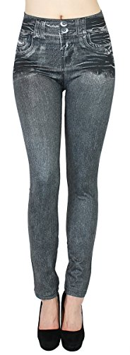 dy_mode Damen Thermo Leggings Thermojeggings mit Innenfutter - WL020 (38/40 - M/L, WL033-Grey)