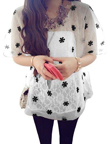 Femme Patchwork Modèle Flocon De Neige Impressions Lacets Chemise Blanc