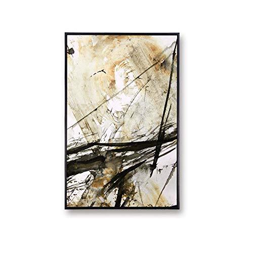 Format Tinte Gelb (Unbekannt Bild mit Rahmen 27x37cm Schwarz und gelb - Design Tinte (Format: Hoch) Wandbilder, Gerahmte Bilder & Leinwand Poster Dekoratives Gemälde)