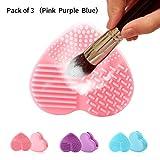Bromose silicone débroussaillage mat pinceau de maquillage propre du tampon de lavage débroussaillage outil portatif cosmétiques tapis épurateur, paquet de 3 (rose, violet, bleu)