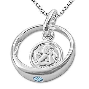 CLEVER SCHMUCK Set Silberner Taufring Engel rund mit Zirkonia hellblau blautopas-farbig und Kette Venezia 36 cm glänzend Sterling Silber 925