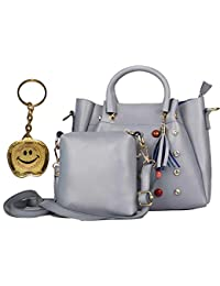 Beets Collection Leatherette 2Pcs Combo Sling Handbag for Women and Girls College Office Bag, Stylish latest Designer Spacious Shoulder Tote Bag Purse. Gift for Her (Silver)