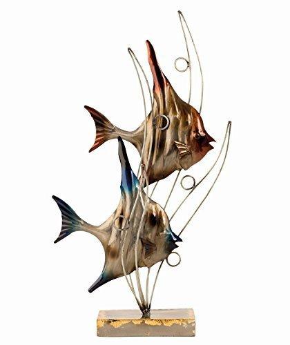Scultura Moderna Pesci con Onde in metallo Altezza 47 cm