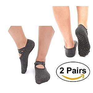 SANIQUEEN.G 2 Paar Damen Rutschfeste Yoga Socken Non Skid Socken Barre Socken Ballett Socken für Pilates, Fitness,Barre und Tanz EU 34-40