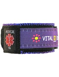 Identificación médica identificación Pulsera emergencia camiseta Juego. Tienda retraimiento verraco. Medicamentos. Condición., color  - Purple / Floral, tamaño mediano