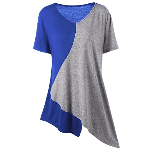 Hffan Damen Einfachheit Farbe Bluse Sweatshirt Überdimensional Baggy Kurz Ärmel O-Ausschnitt Pullovers Patchwork Unregelmäßige Tops Elegant Tunika Longshirt Tee Blouse Kurzarmshirts