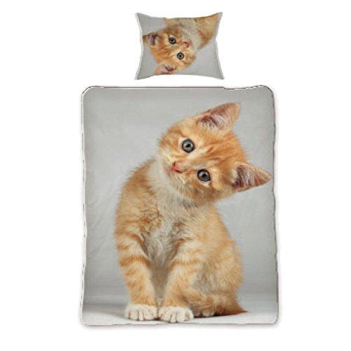 Niedliche Bettwäsche mit verschiedenen süßen Tiermotiven zur Auswahl, Deckenbezug ca.140/200cm, Kissenbezug ca.70/90cm, 100% Baumwolle (Kätzchen)