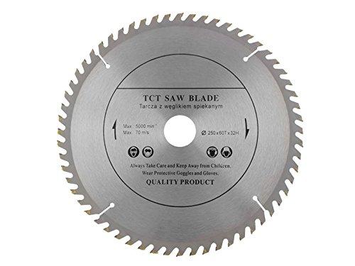 Kreissägeblatt mit 250 mm Durchmesser, für Handkreissägen, geeignet zum Holzsägen, mit 60 Zähnen und 32-mm-Bohröffnung Gen Holz
