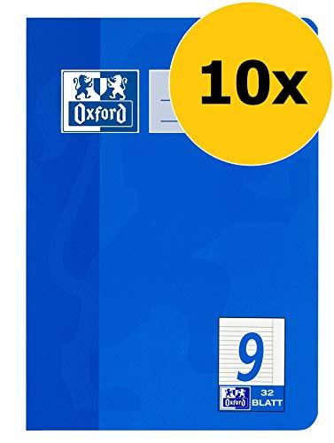 OXFORD 100050381 Schulheft Schule 10er Pack A5 32 Blatt Lineatur 9 liniert mit Rand blau 9 Oxford