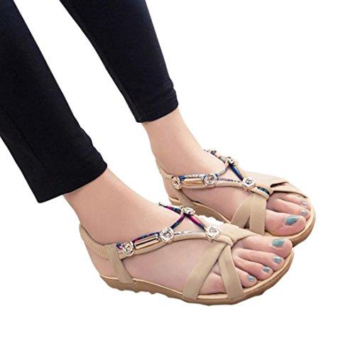 OYSOHE Bohemian Damen Sandalen Frauen Sommer Sandalen Schuhe Peep Toe Low Schuhe Roman Sandalen Damen Flip Flops (Baby Heel High Sandale)