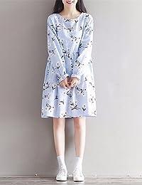 ZLL Ample Robe Femme Décontracté / QuotidienFleur Col Arrondi Midi Manches Longues Lin Eté Taille Normale Micro-élastique Fin , l