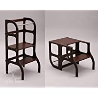 Montessori furniture Learning tower/table / chair, toddler Kitchen helper Step stool - dark BROWN color/SILVER clasps