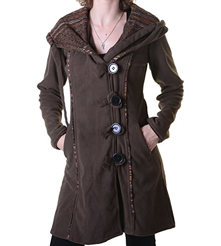 Kunst und Magie Fleecemantel in ausgefallenem Design mit Kapuze - Boho Damen Mantel, Size/Größe:42;Farbe:Braun