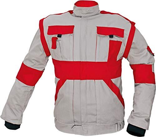 Stenso Chaqueta Chaleco de Trabajo Multiusos MAX - Ropa de Trabajo para Hombre - 2 en 1 para Todo el año - Gris/Rojo - 2XL (EU60)