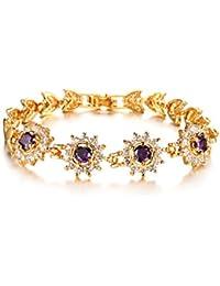 Cyan 18 K Gold Plated Flower Shaped Purple Cubic Zircon Bracelet For Women