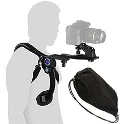 Ensemble D'Épaule Léger pour DSLR et Caméscopes | Repose-Épaules avec 3 Trépieds | Support pour Les Deux Mains
