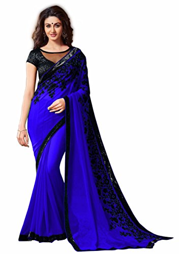 Kamela Saree Georgette Saree With Blouse Piece (_Blue_Free Size)