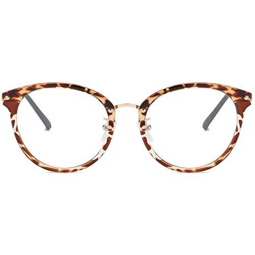Sojos occhiali anti luce blu rotondi vintage occhiali da vista computer per donna sj9001 ashley con leopardo telaio/lente anti-blu