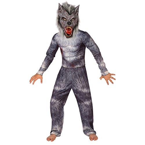 Kinder Luxus Werwolf Kostüm Unheimlich Wolf Monster Kleidung Zum Parteien und Halloween - Groß (9 - 11 Jahre) (Halloween Kostüme Für Große Kinder)
