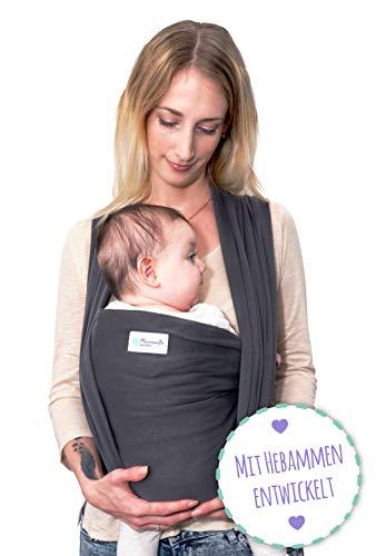 Babytragetuch - Tragetuch aus Baumwolle - Baby Sling Carrier für Neugeborene bis 15 kg - Babytuch 5m lang - inklusive Aufbewahrungsbeutel & Bindeanleitung - dunkelgrau