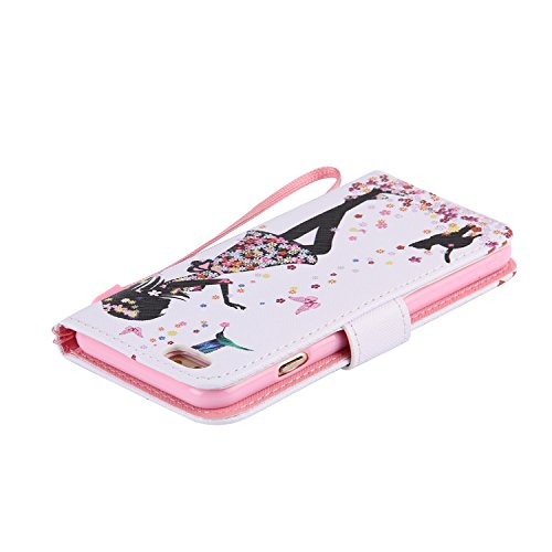 Hülle für iPhone 6 6S, Tasche für iPhone 6 6S, Case Cover für iPhone 6 6S, ISAKEN Malerei Muster Folio PU Leder Flip Cover Brieftasche Geldbörse Wallet Case Ledertasche Handyhülle Tasche Case Schutzhü Mädchen Katze