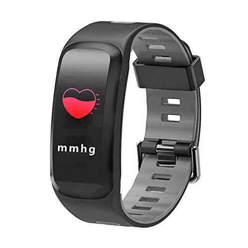 Lee Lam Intelligentes Armband, Farb-Touchscreen-Blutdruck-Sauerstoff-Herzfrequenz-Überwachung Zweifarbige Silikonarmband-Schrittzähler-Sportuhr,Gray - Training-bewegung Apple Pro