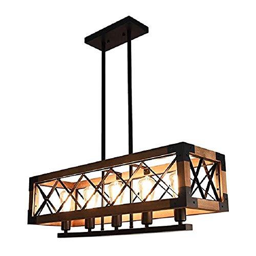 SELMAL Hölzerne Chandelier, 5 Lichter Chandelier, Kücheninsel Beleuchtung mit E27 Lampenhalter, Rechteck-Cage Frame für Living Room Restaurant Bar