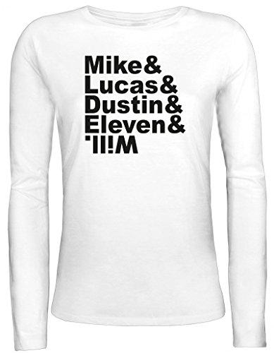 Mystery Damen Longsleeve Langarm T-Shirt mit Mike Lucas Dustin Eleven Will Motiv von ShirtStreet, Größe: S,weiß
