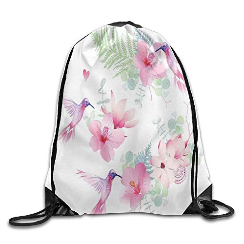 Unisex Drawstring Backpack, Tropical Flowers with Flying Hummingbirds Wild Nature Bare Branches Blooms Drawstring Gym Sack Sport Bag -