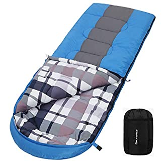 SONGMICS Wide Camping Sleeping Bag with Compression Sack, Ideal Temp 5 to 15°C, 3-4 Seasons, Easy to Carry, Lightweight, Compact, for Camping, Hiking, Travelling, 220 x 84 cm 12