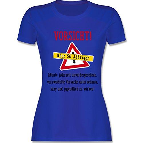 Geburtstag - Vorsicht 50-jähriger Fun Geschenk - tailliertes Premium T-Shirt mit Rundhalsausschnitt für Damen Royalblau