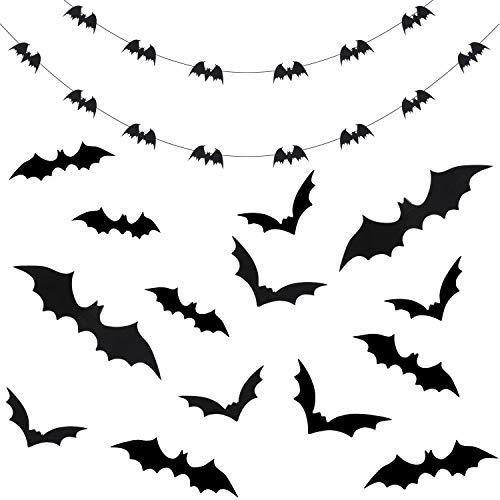 Tatuo 2 Stück 4 m Halloween Fledermaus Girlande Schwarz Papier Banner mit 36 Stück 3D Fledermaus Aufkleber Halloween Wand Fenster Dekor Fledermäuse Party Lieferungen