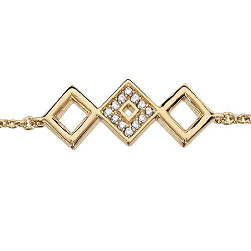 So chic gioielli© bracciale lunghezza regolabile: 16a 18cm quadrati ossido di zirconio bianco placcato oro 750