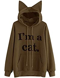 cfebec1ba58a VENMO Damen Cat Hoodie Sweatshirt Langarm mit Kapuze Pullover Tops Bluse Damen  Hoodie Kapuzenpullover Kapuzenpulli Frauen