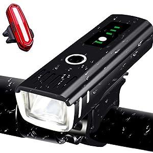 AMANKA Luci per Bicicletta,250LM LED Luci Bici Ricaricabili USB Set con modalità di Induzione e Display della Batteria…