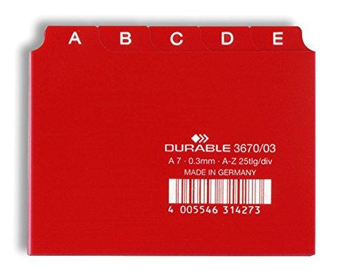 Durable 367003 Leitregister A - Z (A7 quer) 1 Stück rot