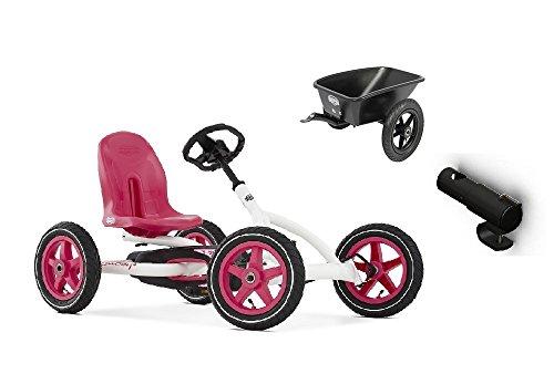 BERG Pedal Go-Kart Buddy Weiß inkl Anhänger u Anhängerkupplung ,0242