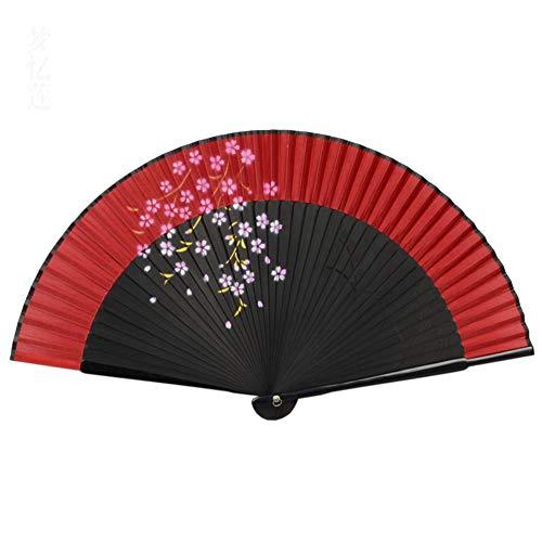 Yowinlo Faltfächer Hand Fächer Seide Inkjet Handbemalte Faltfächer Spitzenfächer Cheongsam Tanzfächer Japanischen Weiblichen Fan Bambus Gruppe Farbe Griff Fan (Kostüme Gruppe Weiblich)