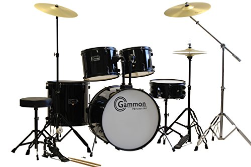 black-drum-set-5-piece-complete-full-size-adult-set-with-cymbals-stands-stool-and-extra-boom-stand