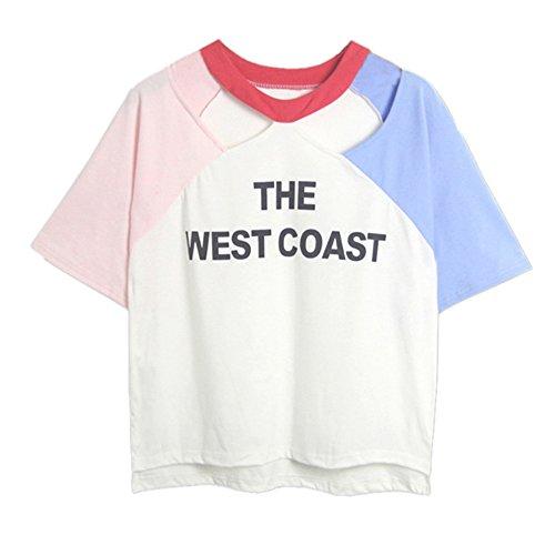 TUDUZ Damen Gestreift Crop Top Kurzarm Streifen Shirt Oberteile (S, Weiß -D)