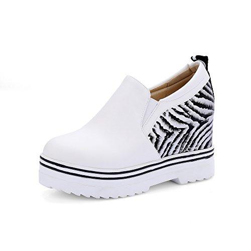 VogueZone009 Femme Tire Rond à Talon Haut Pu Cuir Couleurs Mélangées Chaussures Légeres Blanc