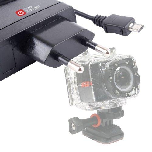 DURAGADGET chargeur secteur pratique mini USB pour PNJ Cam AEE SD18, SD19, AEE SD21 et AEE SD23 Mini Caméra de sport embarquée étanche/caméscope