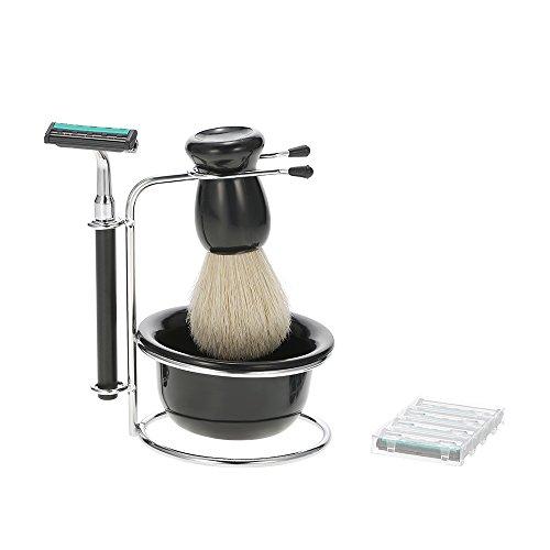 Anself 4in 1Set Rasierer Herren Trocken und feucht Reinigung des Gesichts porte-rasage + Rasierer + Seife Bowl + Rasierpinsel Bürste Werkzeug-Herren (Schüssel Porta)