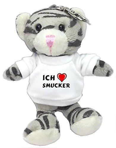 plusch-graue-katze-schlusselhalter-mit-t-shirt-mit-aufschrift-ich-liebe-smucker-vorname-zuname-spitz
