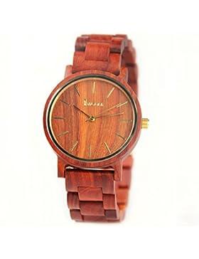 Redear Retro 100% Natürlichem Holz Handgefertigt Rot Armbanduhr Uhren für Damen Quarz Holzuhr Watch