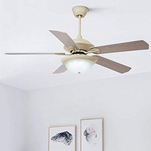 GAOLI 3 Farbwechsel Lampe Fernbedienung, Amerikanische Deckenventilator Licht Nach Hause Eisen Holz Blatt Ventilator Beleuchtung 24W LED 52 Zoll (Ganzen Haus, Deckenventilatoren)