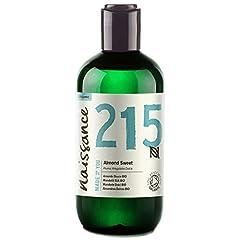 Idea Regalo - Naissance Mandorle Dolci Certificato Biologico Puro 250ml – Vegan, senza OGM – Ideale per la cura della Pelle e dei Capelli, l'Aromaterapia e come olio da Massaggio di base