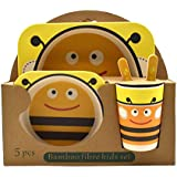 Eco Friendly Bamboo Fibre Kids Feeding Set Of 5 Pieces - Bees Print