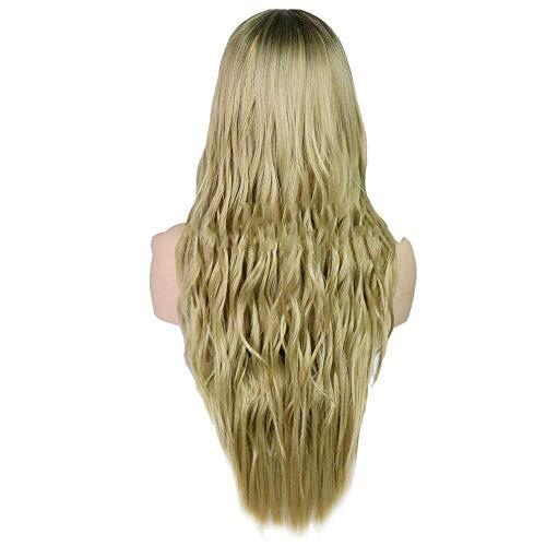 Littlefairy Damen Perücke Perücken Chemische Faser gefärbt Lange lockige Haare Gold (Gefärbtes Haar Gold)