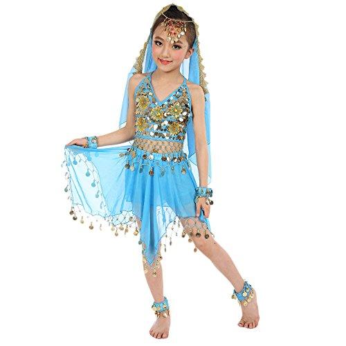 Lonshell Kinder Mädchen Bauchtanz Kleid mit Münzen Asymmetrischer Chiffon Performance Kostüm Kleid Ärmellos Ägypten Tanz Belly Dance Tanzkleid Tanzkostüme - Tanz Performance Kostüm Mädchen